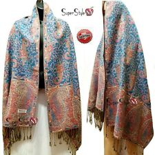 Blue Red Paisley Flower Blooming Shawl Wrap Thick 55% Pashmina & 45% Silk