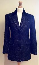 JIGSAW BLACK SPARKLE JACKET  SIZE 10 BUTTON MADE IN ENGLAND