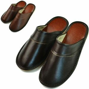 New Indoor Slippers Men Spring Summer Cow Leather Anti Slip Flat Home Slippers