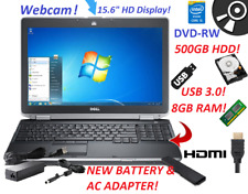 "DELL LAPTOP WINDOWS 7 PRO 15"" USB 3.0 Core i5 8GB RAM 500GBHDD WiFi DVDRW HD"