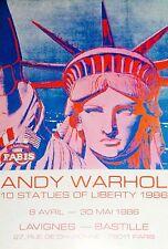 Andy Warhol Affiche originale 1986 Lavignes 10 statues of liberty pop art Paris