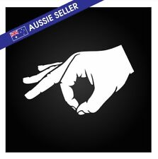 MADE YOU LOOK Sticker - Circle Hand Decal - White 150mm below the waist Car Boat