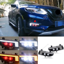 LED Front DRL Daytime Running Lights/ Turning Lights For Nissan Rogue 2017-2020