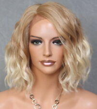 Short Lace Front Wig Wavy Bob Blonde mix Heat OK Hair Piece Full WBPG 27/613