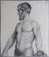 Carl Bloch. Männlicher Akt.  Zeichnung. Nude.