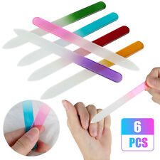 6 Pcs Colorful Crystal Glass Nail Files Double Sided Nail Manicure Pedicure File