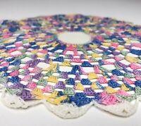 "Set of 2 Vintage Hand Crochet Pastel Doilies Cottage Core Spring Decor 9"" Round"