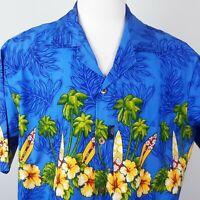 Aloha Fashion Blue Hawaiian Shirt Mens XL Hibiscus Flowers Palm Trees Surfboards