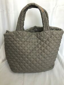 MZ WALLACE Metro tote gray quilted nylon purse