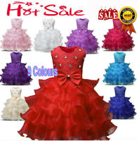 Flower Girl Kid Wedding Bridesmaid Princess Dress Bow Tutu Formal Party Dresses