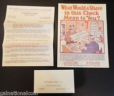 R. Franklin Smith Oil Royalties-Productions Letter, Ad. Flier and Envelope 1923
