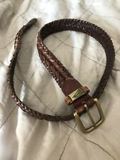 Vintage Nautica Leather Braided Woven Brown Belt Gold Hardware Size 32
