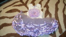 NWOT NEW MUDPIE BABY BUDS 0-6 PURPLE WHITE TUTU DRESS W/ LARGE FLOWER