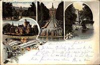 1898 Stempel Wilhelmshöhe Bz. Cassel auf Litho-AK mit Löwenburg Aquaduct uvm.