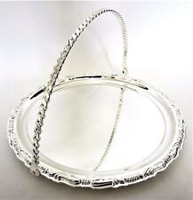 Beautiful Cake/Fruit Chrome Silver Plated Round Serving Tray with handle.