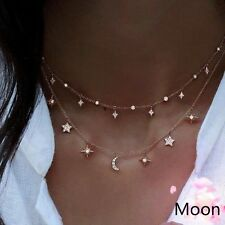 Women's Gold Filled Shiny Two Layers Chain Star Choker Necklace Jewelry Gifts
