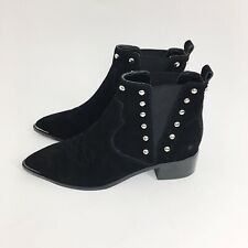 NWOT MARC FISHER Black Suede Chelsea Booties Steel Studies Point Toe Size 5 1/2