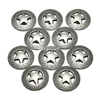 "3/4"" Western Texas Star Concho Buttons Snap Fastener Silver Color 21mm -10 pack"
