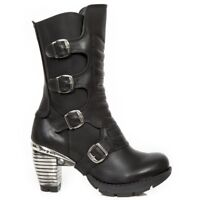 NEWROCK New Rock M.TR003X-S2 Ladies Black Cow Leather Boots Punk Heavy Gothic