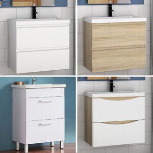 Badmöbel Set 50/60 cm Waschbecken mit Unterschrank Waschtisch Badschrank Badset