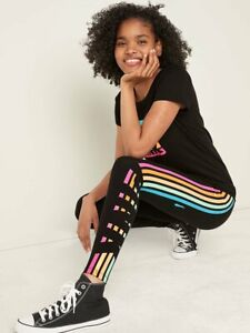 NWT VICTORIA SECRET PINK Cotton High Waist Black with Rainbow Leggings XL NEW