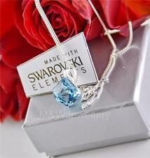 925 STERLING SILVER NECKLACE PENDANT CUBE AQUAMARINE CRYSTALS FROM SWAROVSKI®