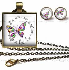 You Are My Sunshine Butterfly Necklace Earrings & Chain Set Glass Top Pendant