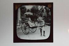 More details for rickshaw driver & passenger in ceylon sri lanka - glass lantern slide