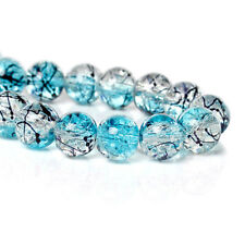 20 Crackle Glass Beads 10mm - Blue Water on Clear Ice with Black Accents - BD786