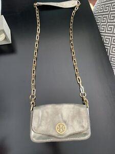 TORY BURCH Metallic Gold Leather Chain Crossbody Bag Detachable Clutch - Beauty!