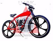 "Diy 2-Stroke 66Cc/80Cc Motorized Bike Kit With 26"" Red Gas Tank Bicycle"