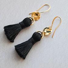 Gold Black Tassel Drop Earrings - Tassle Womens Long Disc Dangle - UK Seller