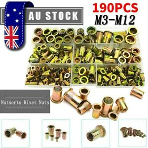 190Pcs Assorted Rivnut Rivet Nut M3-M12 Blind Rivnuts Nutsert Tool Kit Accessory