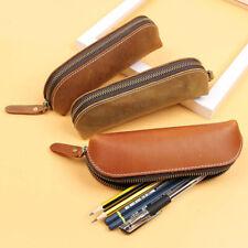 Handmade Cowhide Leather Vintage Pen Zipper Pencil Case Stationery Storage Bag