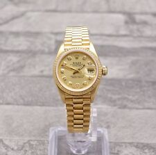 Ladies 18ct Yellow Gold Rolex Oyster Perpetual Datejust With Champagne Dial
