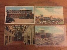 Lot of 4 Vintage Watertown NY Postcards, Railroad, Train Sheds, NYC, Station