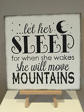 Let her sleep Sign Shabby Chic Vintage bedroom decoration christening gift