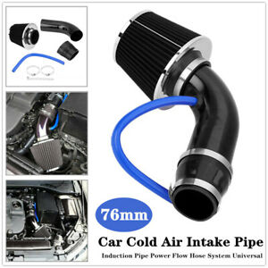 76mm Car Truck Cold Air Intake Pipe Filter Induction Power Flow Hose Kit w/Clamp