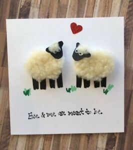 valentines day card wedding day engagement anniversary sheep Card Welsh Farm
