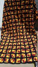"Vtg Afgan Blanket Hand Made Crocheted Wool Throw Granny Squares EUC 64"" x 56"""