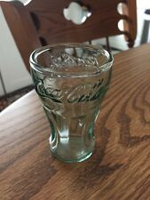 Coca Cola Glass Small Green Embossed Mini Old Fashion Fountain Style Coke Soda