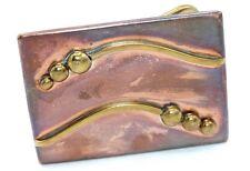 BIG & HEAVY Vtg 1950s STUDIO Modernist Copper & Brass Belt Buckle NEEDS CLEANING