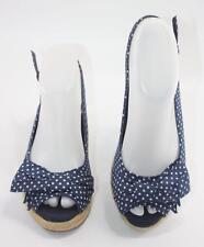 Natural Soul Women's Blue White Polka Dot Canvas Wedge Slingback Sandals Sz 7M