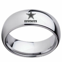 8mm Silver Dallas Cowboys Team Stainless Steel Men's Band Ring Gifts Size 6-13
