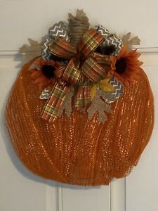 deco mesh fall pumpkin farmhouse wreath