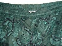 VTG LAURENCE KAZAR NY Green Beaded Skirt XL Holiday Costume Evening wear Repair