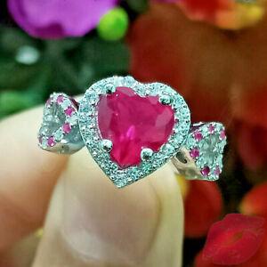 New 2Ct Heart Shape Pink Ruby Halo Amazing Engagement Ring 14K White Gold Finish