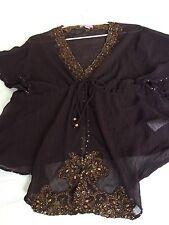 Monsoon Silk Brown Evening Jacket Delicate Embellished