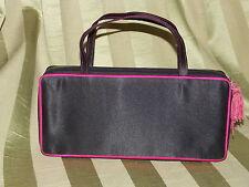 Cool Cosmetic Make up Handbag Purse Black Satin Hot Pink Handles Zip Around