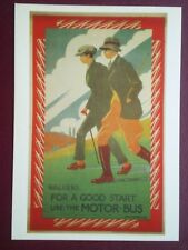 POSTCARD LONDON TRANSPORT POSTER - 1921 - WALKERS FOR A GOOD START USE THE BUS